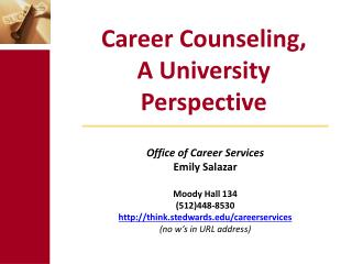 Career Counseling,  A University Perspective