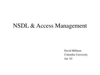 NSDL & Access Management