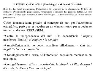 LLENGUA CATALANA I (Morfologia) - M. Isabel Guardiola