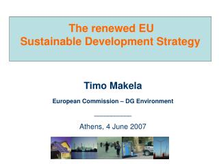 The renewed EU Sustainable Development Strategy