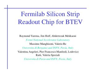 Fermilab Silicon Strip Readout Chip for BTEV