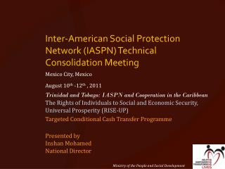 Inter-American Social Protection Network (IASPN) Technical Consolidation Meeting