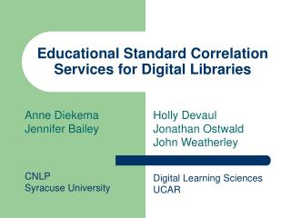 Educational Standard Correlation Services for Digital Libraries
