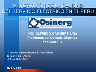 SUPERVISIÓN DE LA CALIDAD  DEL SERVICIO ELÉCTRICO EN EL PERU