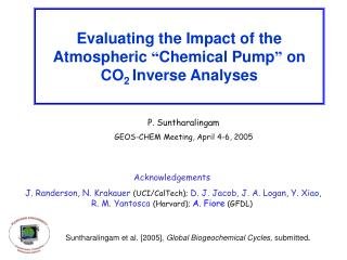 """Evaluating the Impact of the Atmospheric  """" Chemical Pump """"  on CO 2  Inverse Analyses"""