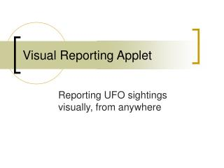 Visual Reporting Applet