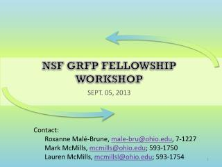 NSF GRFP Fellowship workshop