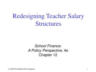Redesigning Teacher Salary Structures