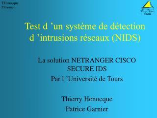 Test d'un système de détection d'intrusions réseaux (NIDS)