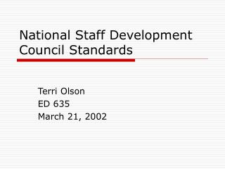 National Staff Development Council Standards
