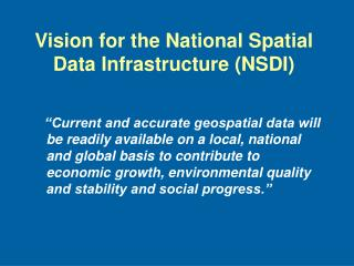 Vision for the National Spatial Data Infrastructure (NSDI)