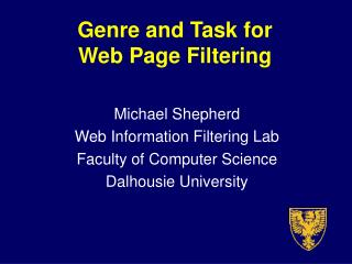 Genre and Task for  Web Page Filtering