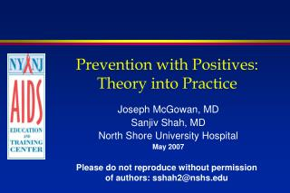 Prevention with Positives:  Theory into Practice