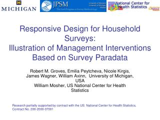 Research partially supported by contract with the US  National Center for Health Statistics,