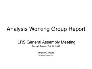 Analysis Working Group Report