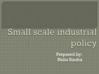 Small scale industrial policy