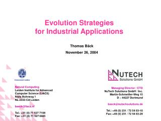 Managing Director / CTO NuTech Solutions GmbH / Inc. Martin-Schmeißer-Weg 15 D – 44227 Dortmund