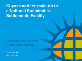 Kuyasa and its scale-up to a National Sustainable Settlements Facility