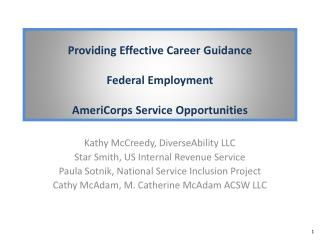 Providing Effective Career Guidance  Federal Employment  AmeriCorps Service Opportunities
