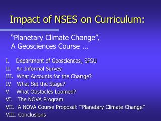 Impact of NSES on Curriculum: