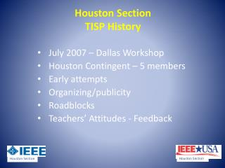 Houston Section TISP History