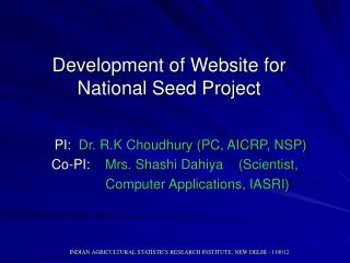Development of Website for National Seed Project