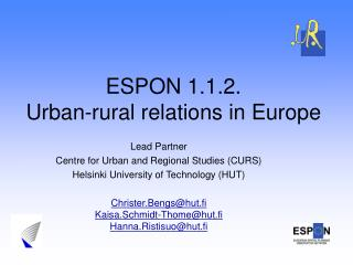 ESPON 1.1.2. Urban-rural relations in Europe
