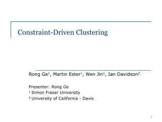 Constraint-Driven Clustering