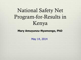 National Safety Net  Program-for-Results  in Kenya