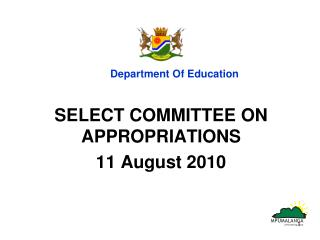 SELECT COMMITTEE ON APPROPRIATIONS 11 August 2010