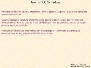 North FEE Schedule