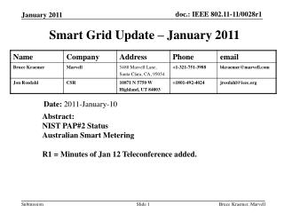 Smart Grid Update � January 2011