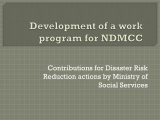 Development of a work program for NDMCC