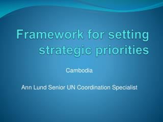 Framework for setting strategic priorities
