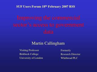 Improving the commercial sector's access to government data