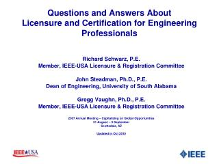 Questions and Answers About Licensure and Certification for Engineering Professionals