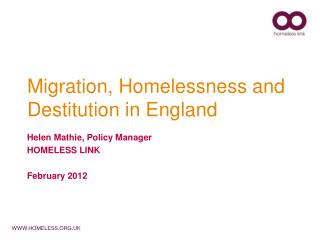 Migration, Homelessness and Destitution in England