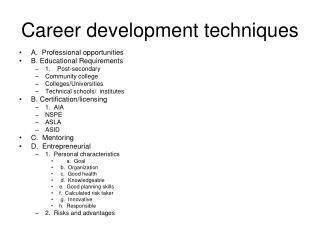 Career development techniques
