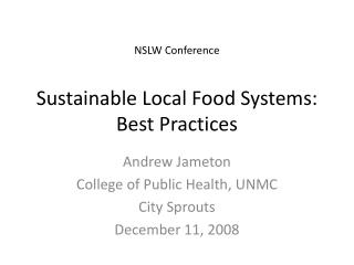 Sustainable Local Food Systems: Best Practices