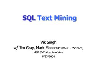 SQL Text Mining
