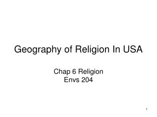 Geography of Religion In USA