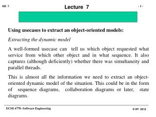 Using usecases to extract an object-oriented models: Extracting the dynamic model