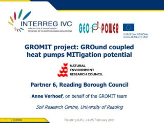 GROMIT project:  GROund  coupled heat pumps  MITigation  potential