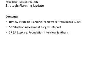 Strategic Planning Update