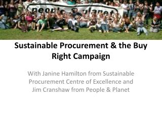 Sustainable  Procurement & the Buy Right Campaign