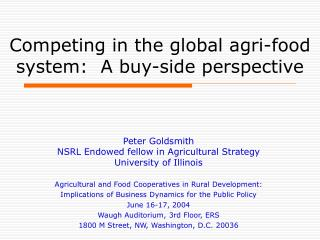 Competing in the global agri-food system:  A buy-side perspective