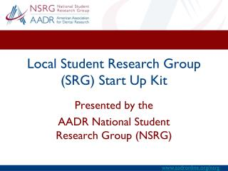 Local Student Research Group (SRG) Start Up Kit