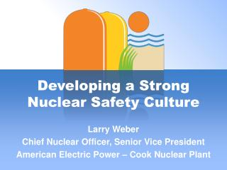Developing a Strong  Nuclear Safety Culture Larry Weber