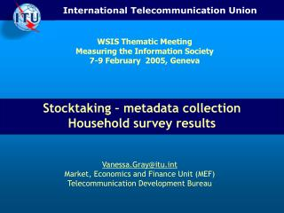 Stocktaking – metadata collection Household survey results