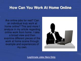 How Can You Work At Home Online